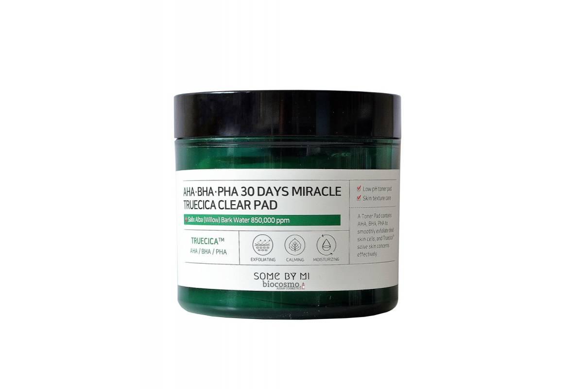 Кислотные пэды для проблемной кожи Some By Mi AHA BHA PHA 30 Days Miracle Truecica Clear Pad - 70 шт