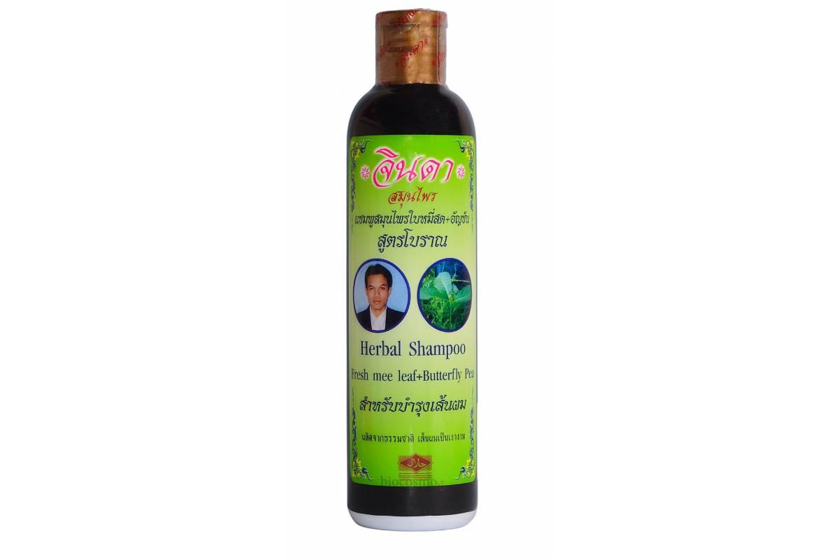 Лечебный шампунь против выпадения волос Jinda Herbal Shampoo Fresh mee leaf + Butterfly Pea - 250 мл