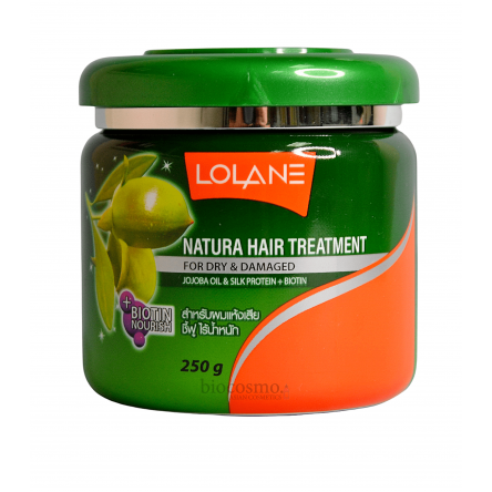 Маска для волос с маслом жожоба Lolane Natura Treatment for Dry & Damaged Hair + Jojoba Oil & Silk Protein - 250 мл