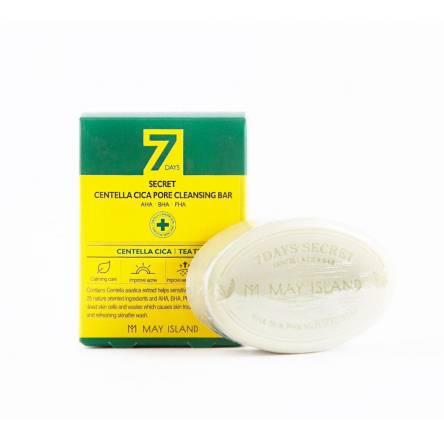 Мыло для проблемной кожи May Island 7 Days Secret Centella Cica Pore Cleansing Bar AHA/BHA/PHA - 100 гр