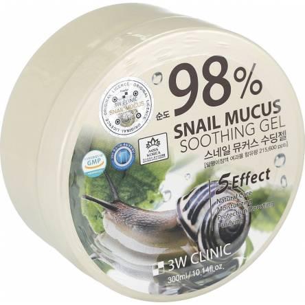 Гель для тела с муцином улитки 3W CLINIC Snail Mucus Soothing Gel - 300 гр