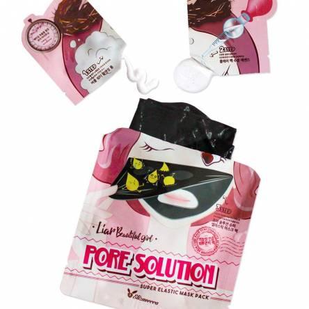 Трехэтапная маска для очищения пор Elizavecca Pore Solution Super Elastic Mask Pack
