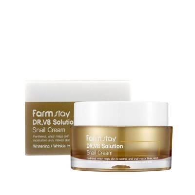 Восстанавливающий крем с муцином улитки FARMSTAY Dr.V8 Solution Snail Cream - 50 мл