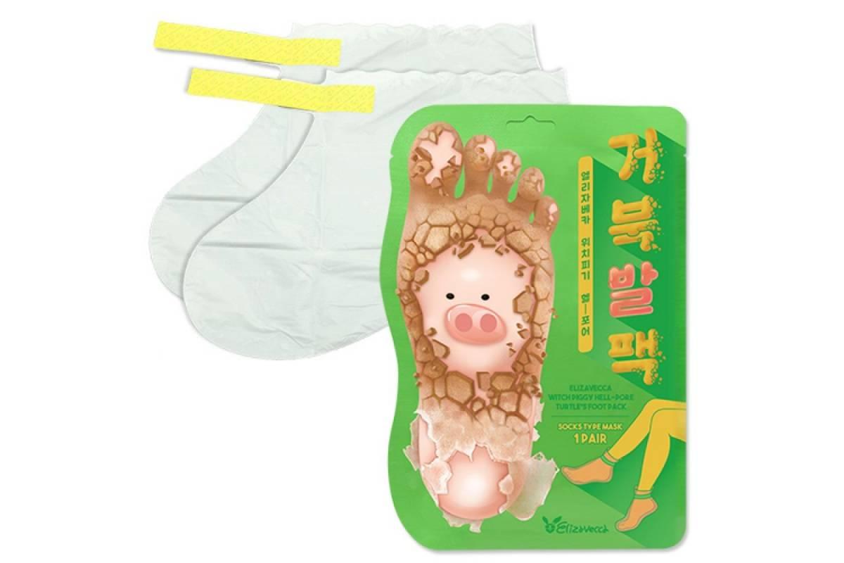 Отшелушивающие пилинг-носочки Elizavecca Witch Piggy Hell Pore Turtle's Foot Pack - 1 пара