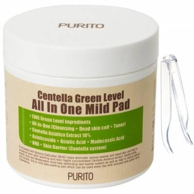 Пэды с центеллой для очищения кожи PURITO Centella Green Level All In One Mild Pad - 70 шт