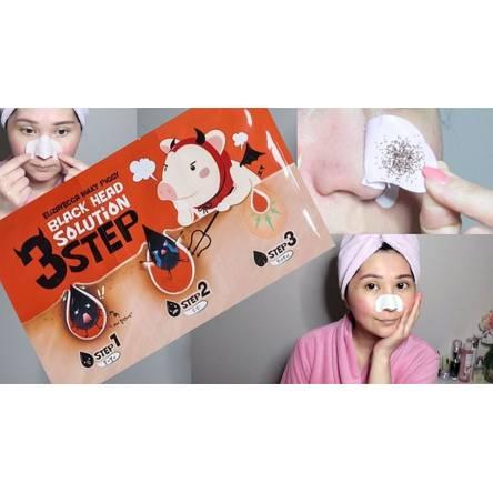 Набор от чёрных точек Elizavecca Milky Piggy Black Head Solution 3 Step Nose Strip