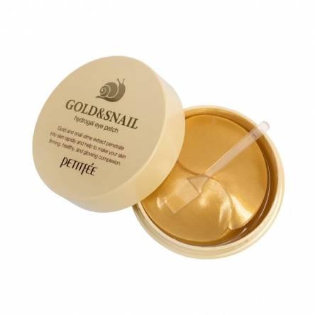 Гидрогелевые патчи для глаз с муцином улитки Petitfee Hydro Gel Eye Patch Gold & Snail - 60 шт