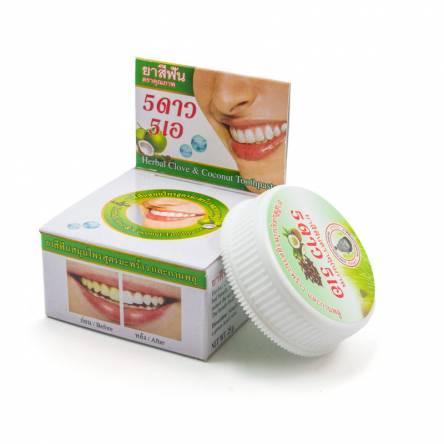 Отбеливающая зубная паста с кокосом Herbal Clove & Coconut Toothpaste 5 Star Cosmetic - 25 гр