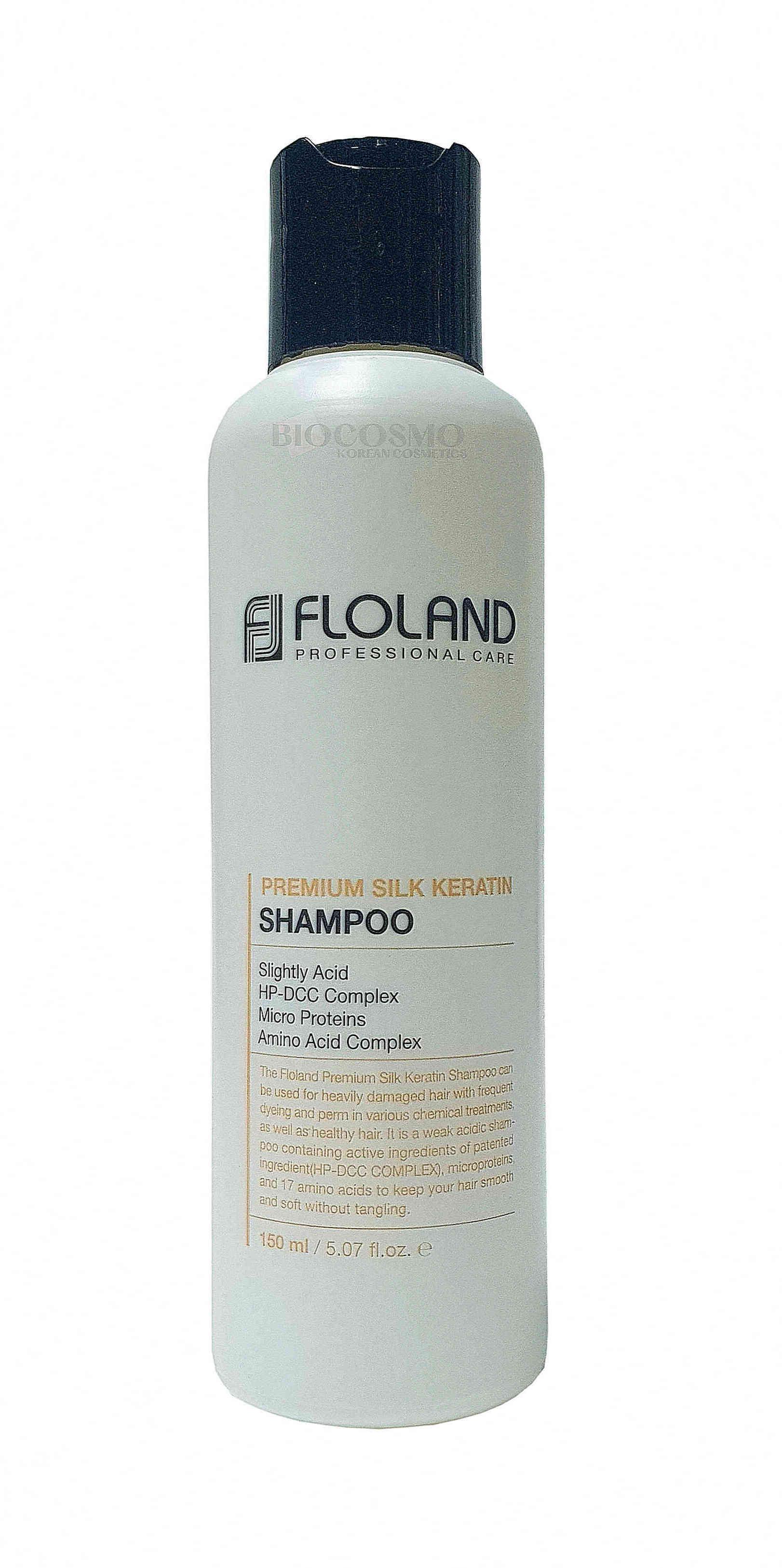 Восстанавливающий шампунь с кератином Floland Premium Silk Keratin Shampoo - 150 мл