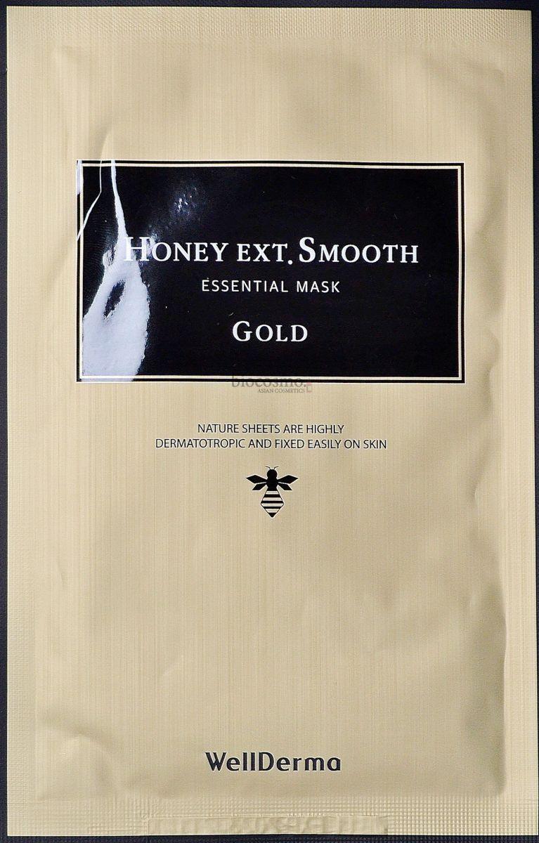 Тканевая маска с золотом и мёдом WellDerma Honey Ext Smooth Essential Mask - 25 мл