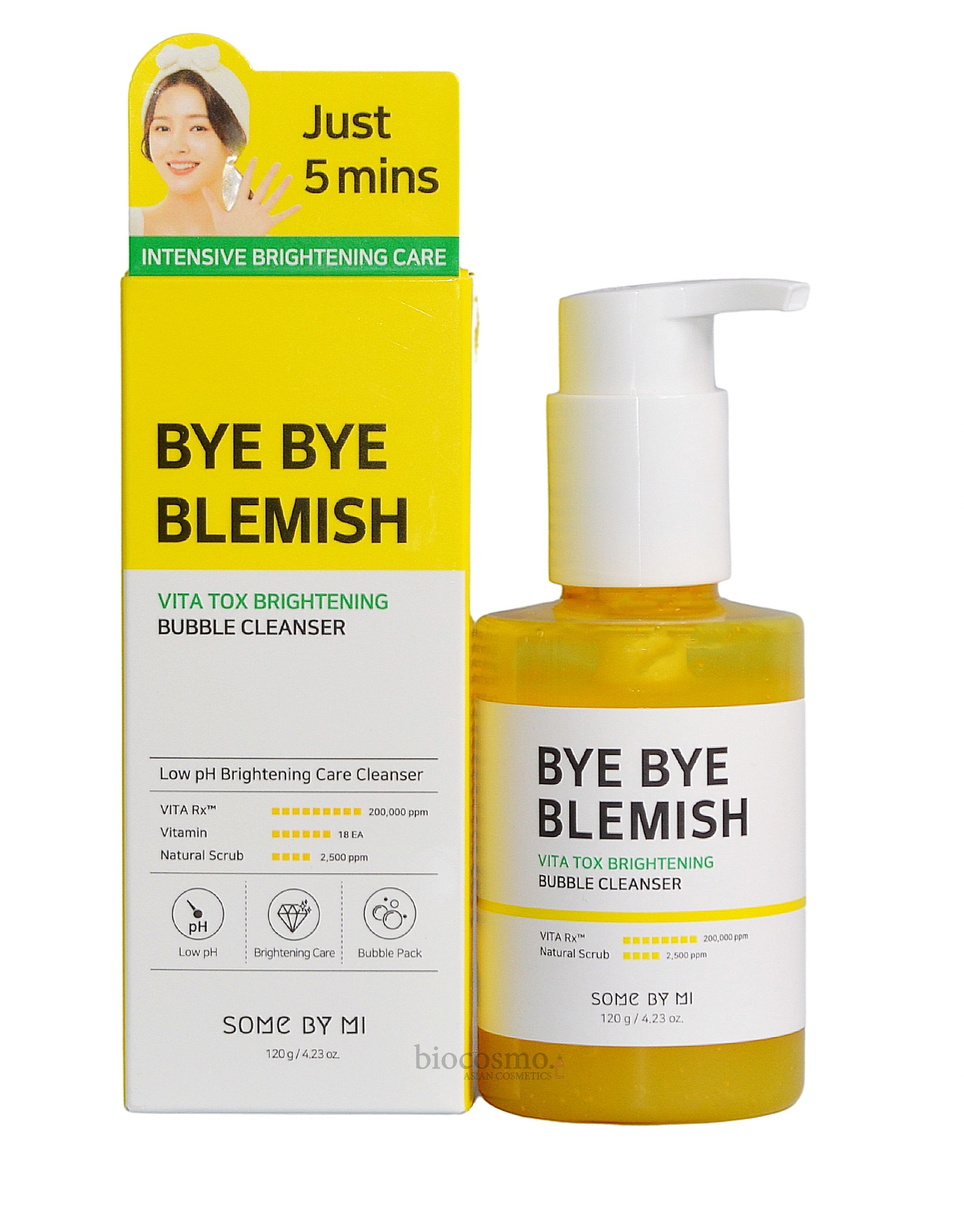 Осветляющая кислородная пенка Some By Mi Bye Bye Blemish Vita Tox Brightening Bubble Cleanser - 120 мл