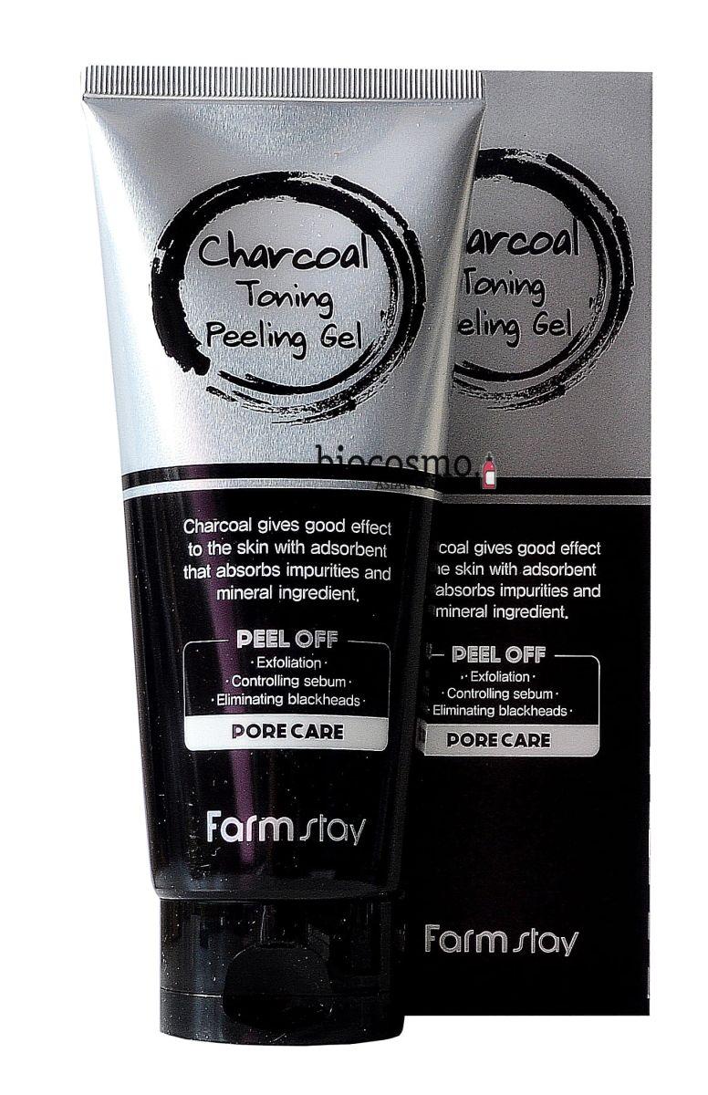 Пилинг-гель для лица с углём FARMSTAY Charcoal Toning Peeling Gel - 180 мл