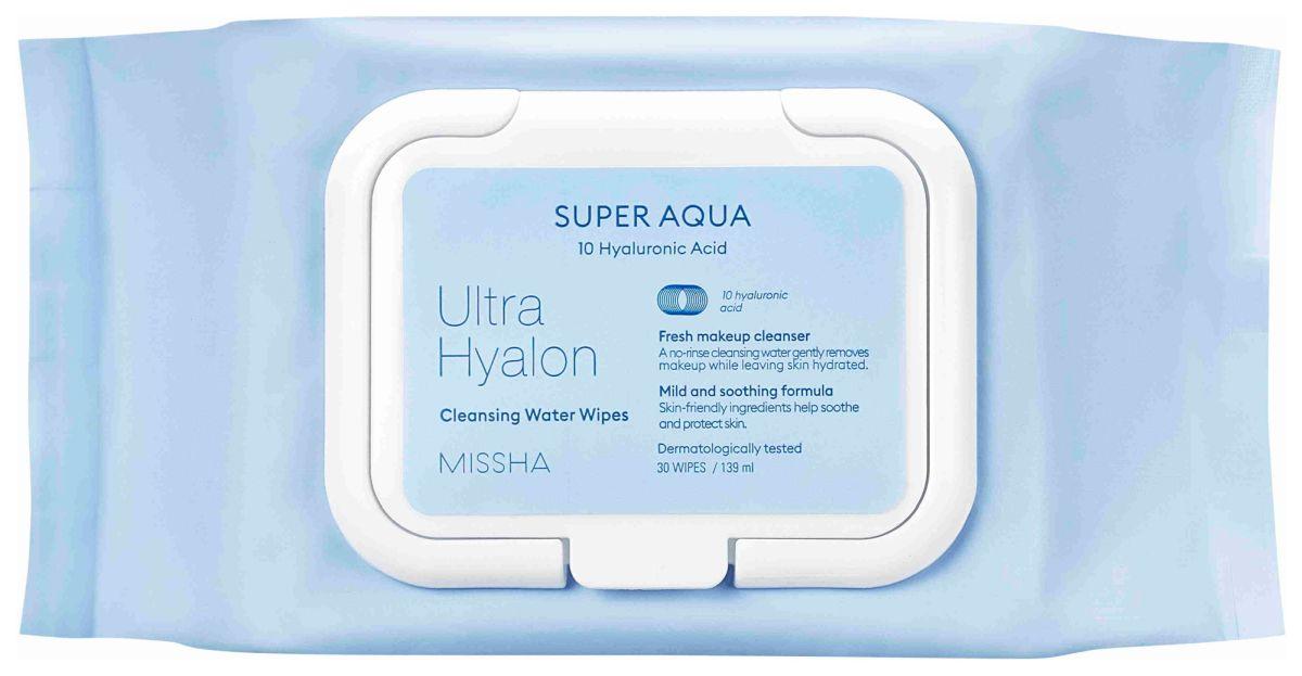 Очищающие салфетки для лица Missha Super Aqua Ultra Hyalron Cleansing Water Wipes - 30 шт