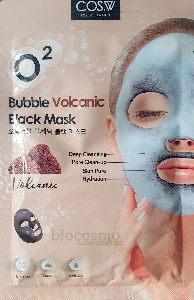 Пузырьковая тканевая маска c вулканическим пеплом Cos.W O2 Bubble Volcanic Black Mask - 20 мл