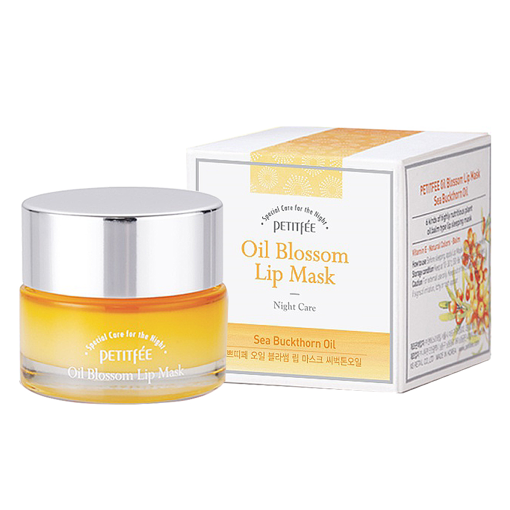 Маска для губ c маслом облепихи Petitfee Oil Blossom Lip Mask Sea Buckthorn Oil - 15 мл