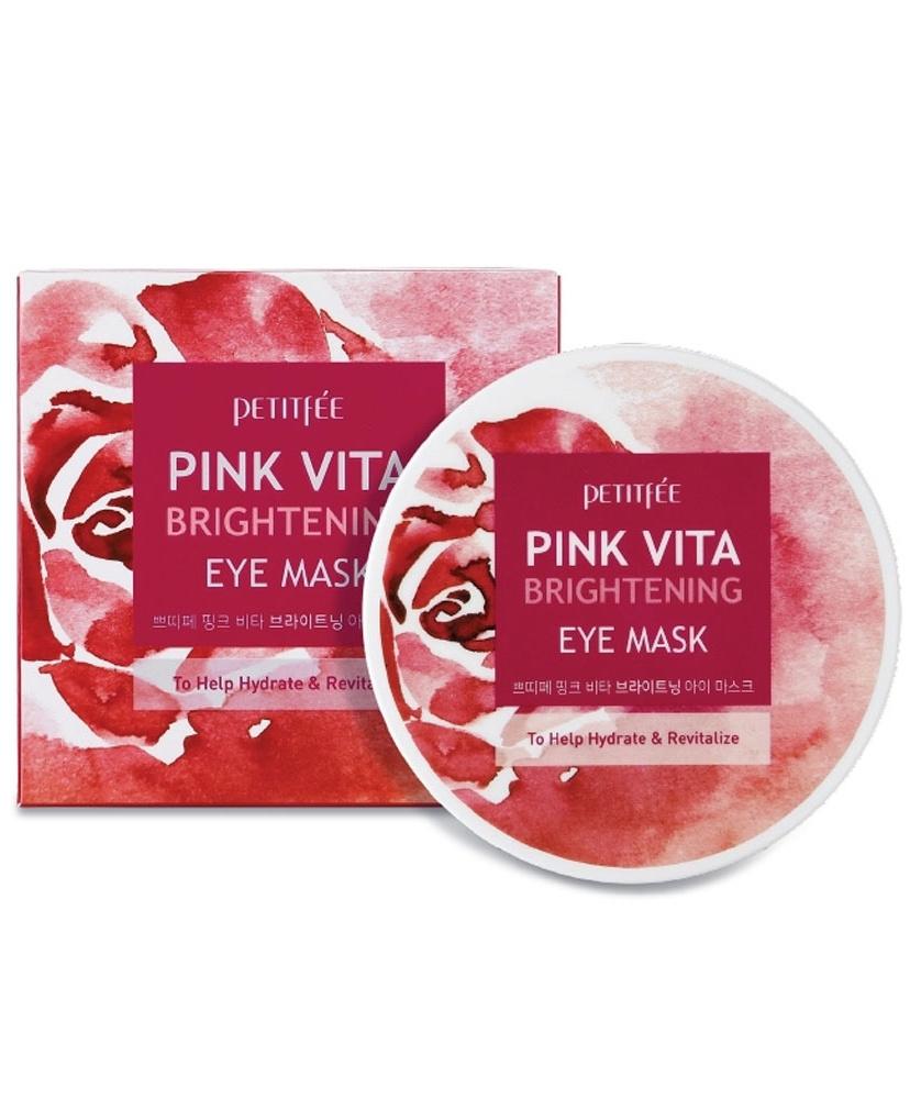 Осветляющие тканевые патчи для глаз Petitfee Pink Vita Brightening Eye Mask - 60 шт