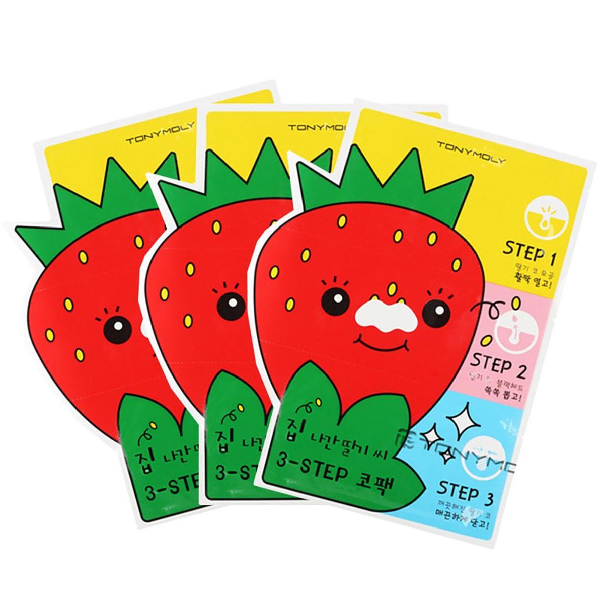 Пластыри от черных точек Tony Moly Homeless Strawberry Seeds 3-step Nose Pack