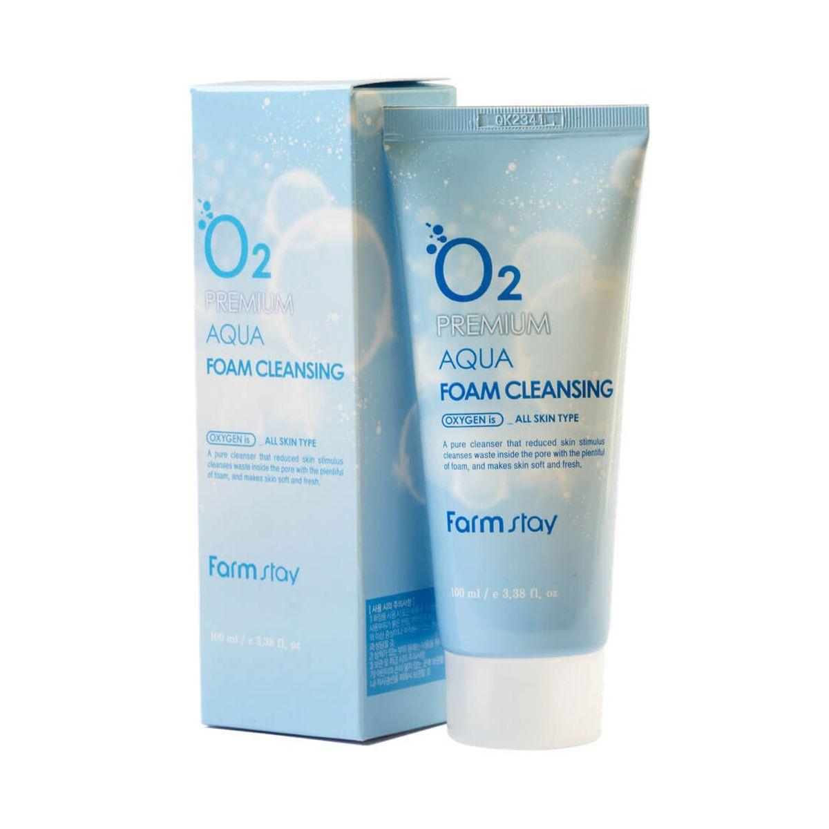Кислородная пенка для умывания FARMSTAY O2 Premium Aqua Foam Cleansing - 100 мл
