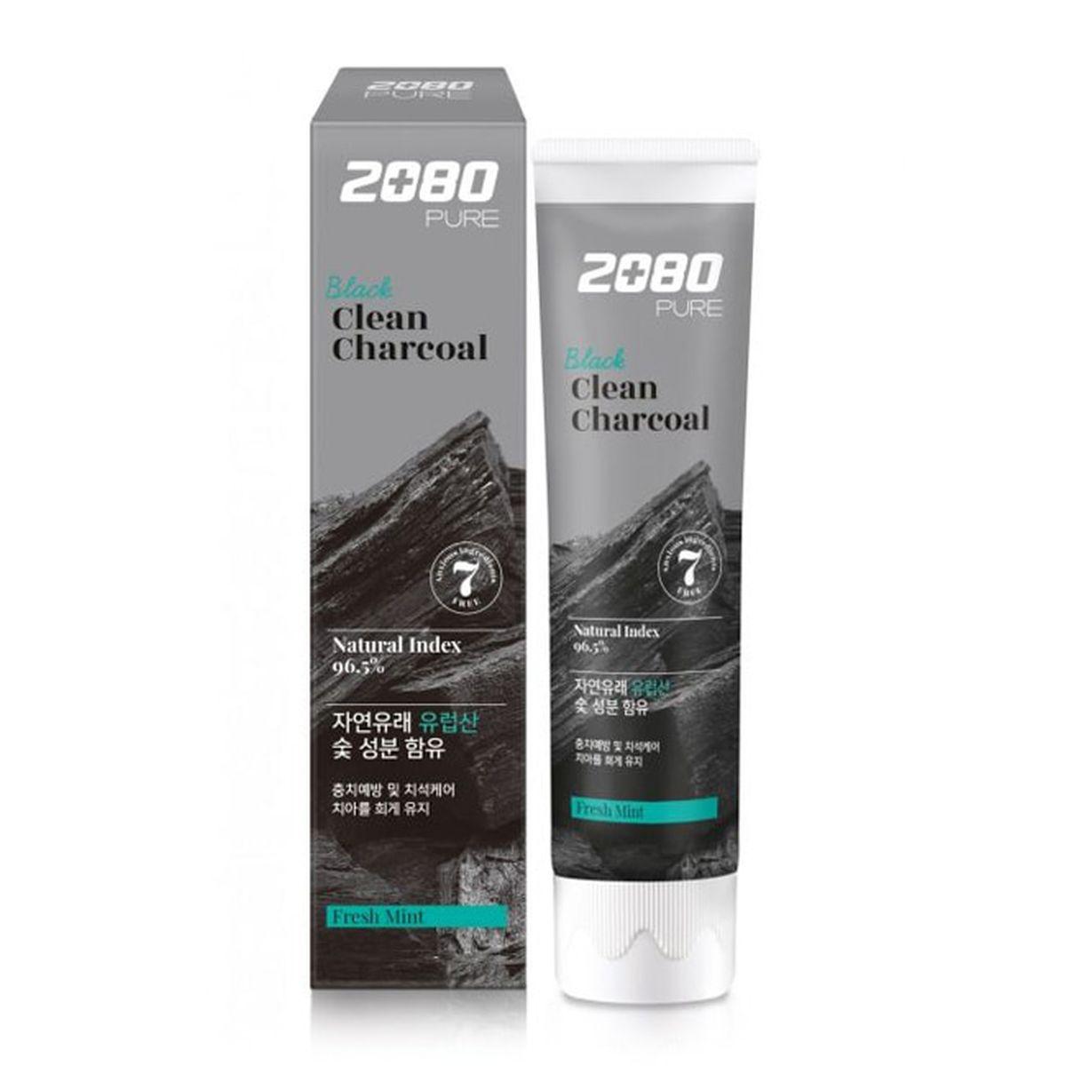 Отбеливающая зубная паста с углём Dental Clinic 2080 Black Clean Charcoal Toothpaste - 120 гр