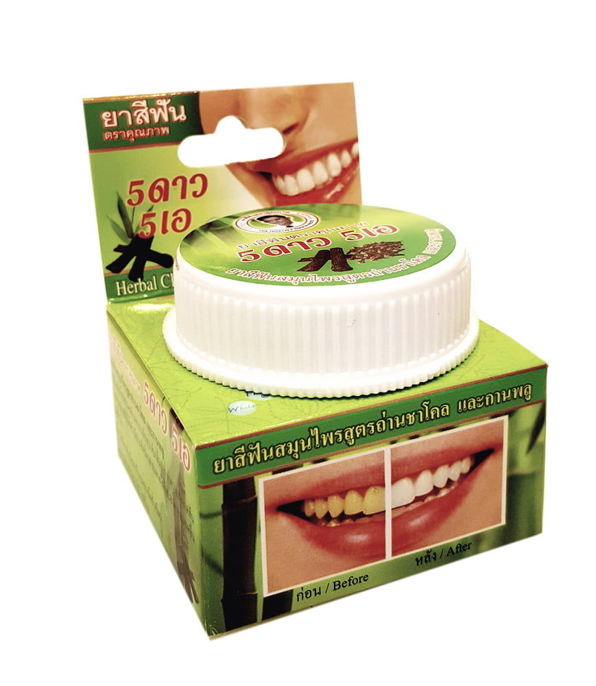 Отбеливающая зубная паста с бамбуковым углем 5 Star Cosmetic Herbal Clove Toothpaste Bamboo Charcoal - 25 гр